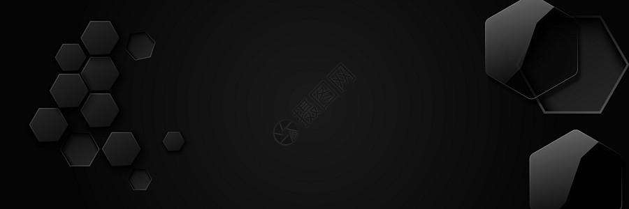 矢量黑色几何banner图片