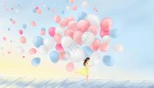 浪漫气球雨图片