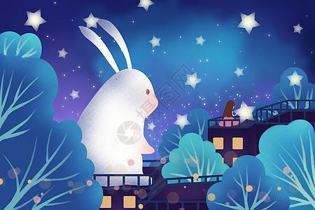 星空下的兔子和女孩图片