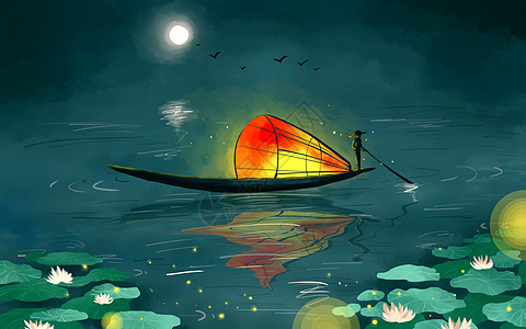 荷塘孤船图片