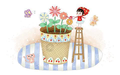 女孩浇花图片