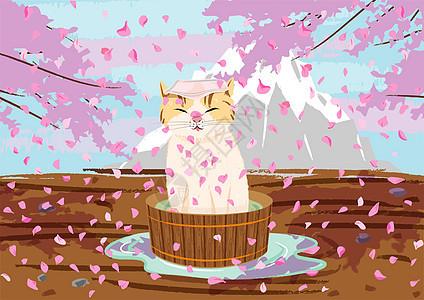 樱花树下的猫咪图片