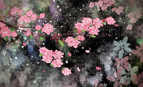 樱花夜背景素材壁纸图片