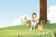 树下看书的女孩图片