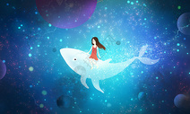 梦幻星空海豚图片