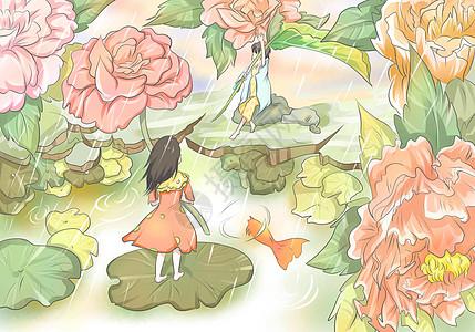 春天女孩与花儿图片