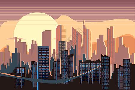 风景建筑城市矢量插画图片