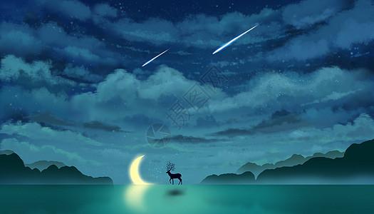 星空下的鹿与月亮唯美插画图片