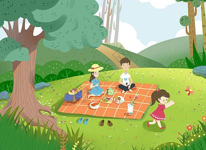 一家人野餐图片