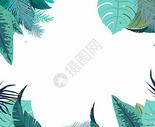 水彩热带植物绿色背景图片