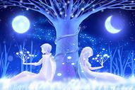 月光下的情侣图片