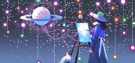 星空下绘画图片