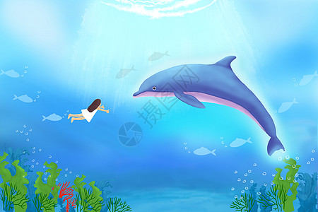 鲸 落水女孩 手绘