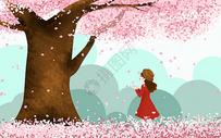 樱花树下的女孩图片