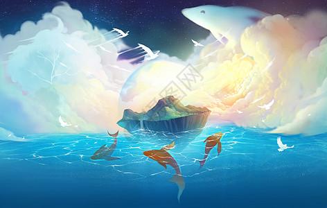 梦幻天空和岛屿图片