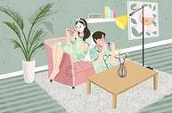 情侣生活插画图片