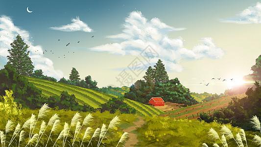 清新田园插画壁纸图片