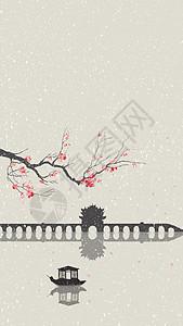 水墨插画小雪图片