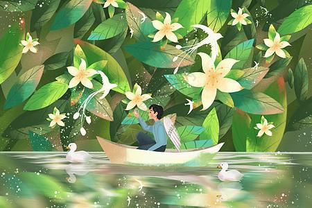 坐小船的天使男孩图片