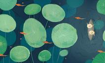 绿色系池塘插画图片