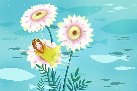 花朵上的女孩图片