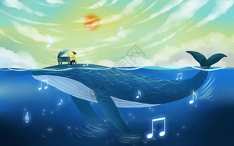 鲸鱼背上的演奏图片