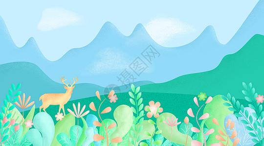 春天风景和麋鹿图片