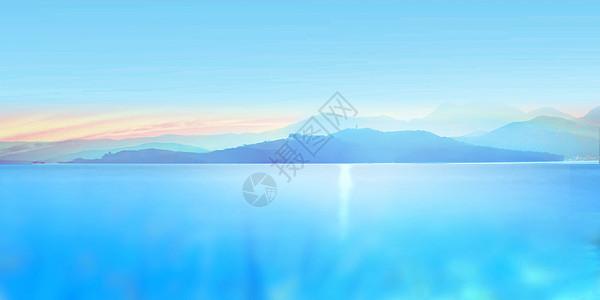 夕阳下的山脉图片