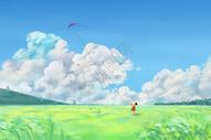 田园里放风筝的女孩图片