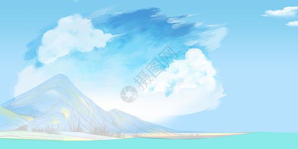 天空下的大山图片
