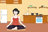 室内瑜伽运动插画图片