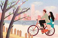 情侣骑单车图片