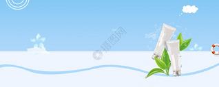 补水美白护肤蓝色背景图片