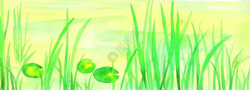 水彩草丛背景图片