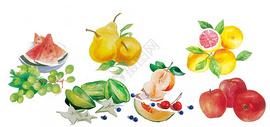 手绘水彩水果元素图片