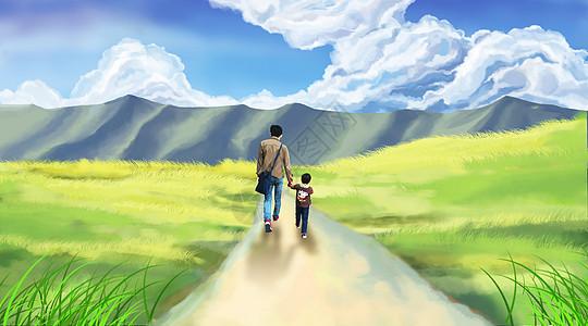 父子牵手走在路上图片