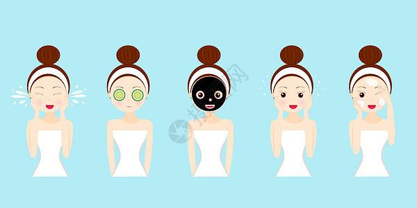 矢量女孩护肤流程图片