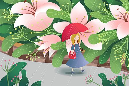 雨中散步的女孩图片