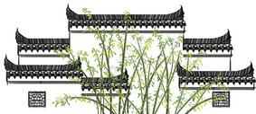 江南墙壁水墨画图片