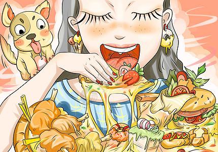 可爱女孩吃披萨图片