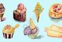 水彩冰淇淋系列合集图片