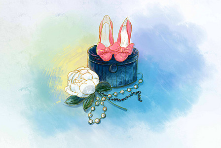 粉红色高跟鞋与花朵图片