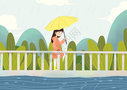 小女孩雨中散步图片