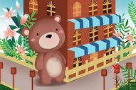 城镇街角的大熊图片