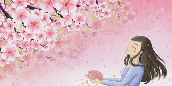 樱花与少女图片