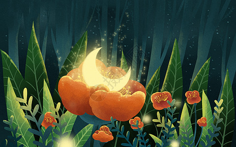 夜晚花丛矢量图
