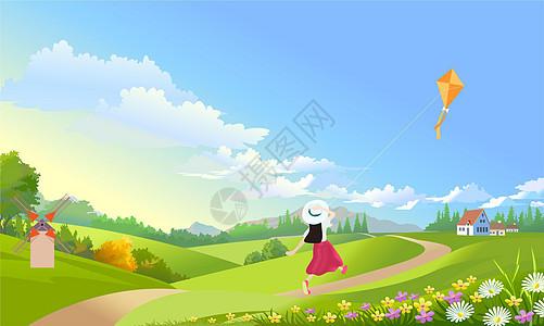 放风筝的小女孩图片