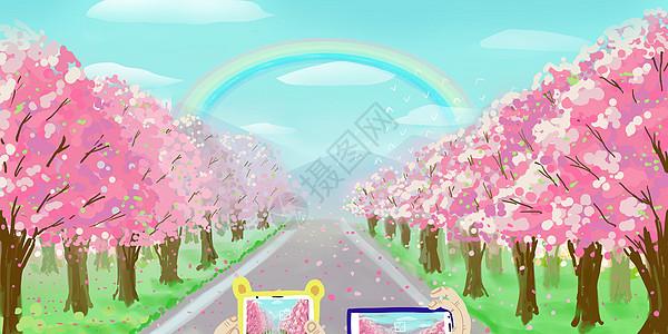 樱花盛放的郊外踏青图片