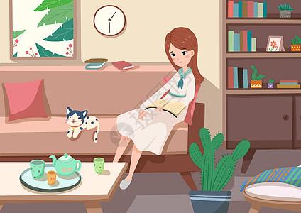 女孩在沙发看书图片