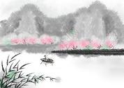 烟雨江南中国风插画图片